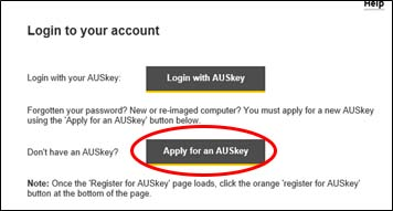 Apply for an AUSkey screenshot