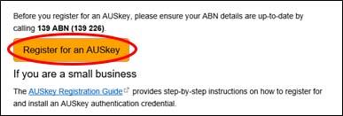 Register for an AUSkey screenshot