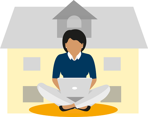 decorative image depicts woman on a laptop sitting in front of a house