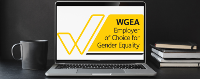 Employer of Choice for Gender Equality citation logo on a laptop screen sitting on a desk.
