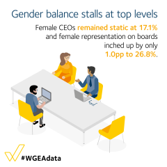Gender balance stalls at top levels - female CEOs remained static at 17.1%