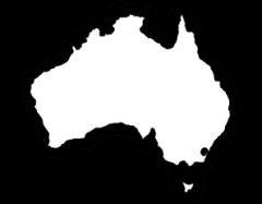 Image is decorative and depicts the geographic landmass of Australia