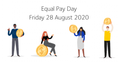 This image depicts the date of Equal Pay Day in 2020, Friday 28 August