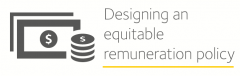 Image is decorative and depicts designing an equitable remuneration policy