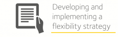 Image is decorative and depicts developing and implementing a flexibility strategy