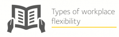 Image is decorarative and depicts types of workplace flexibility