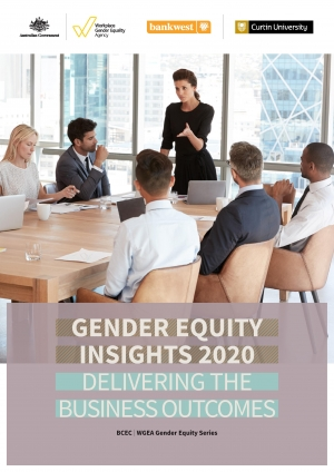 This image depicts the front page to the Gender Equity Insights: Delivering Business Outcomes 2020 research report.