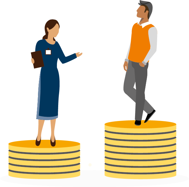 Image depicts a woman standing on a smaller stack of coins than a man.