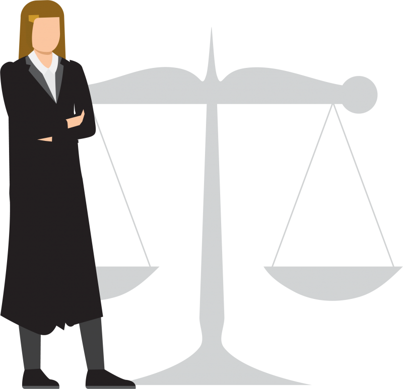 mage is decorative and depicts a judge standing in front of the scales of justice