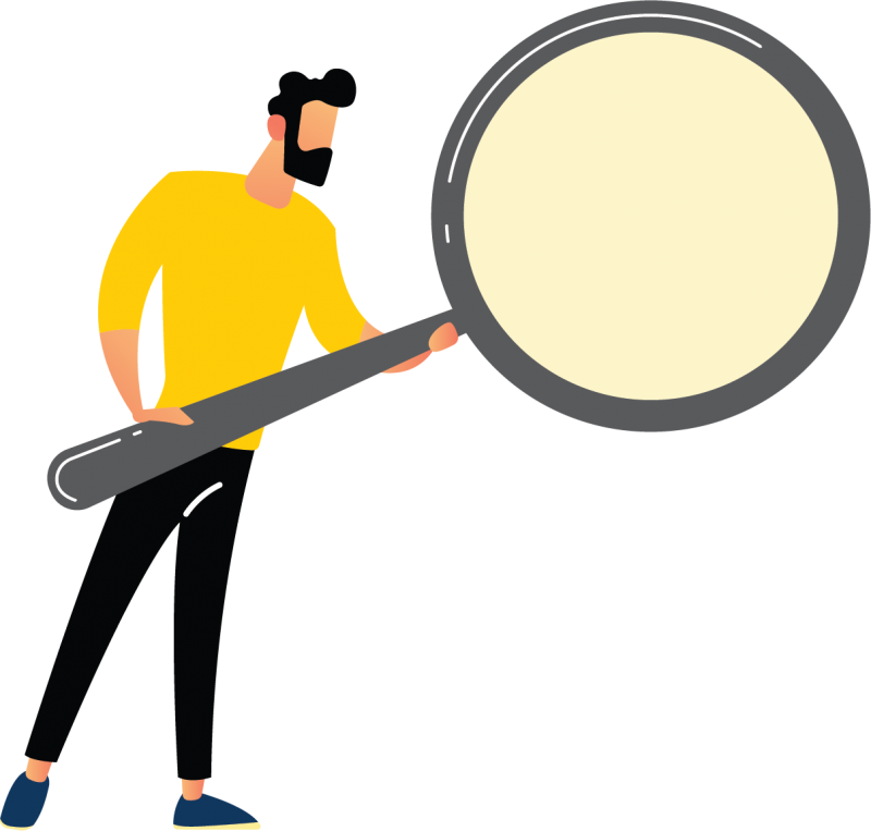 Image is decorative and depicts a man holding an over-sized magnifying glass