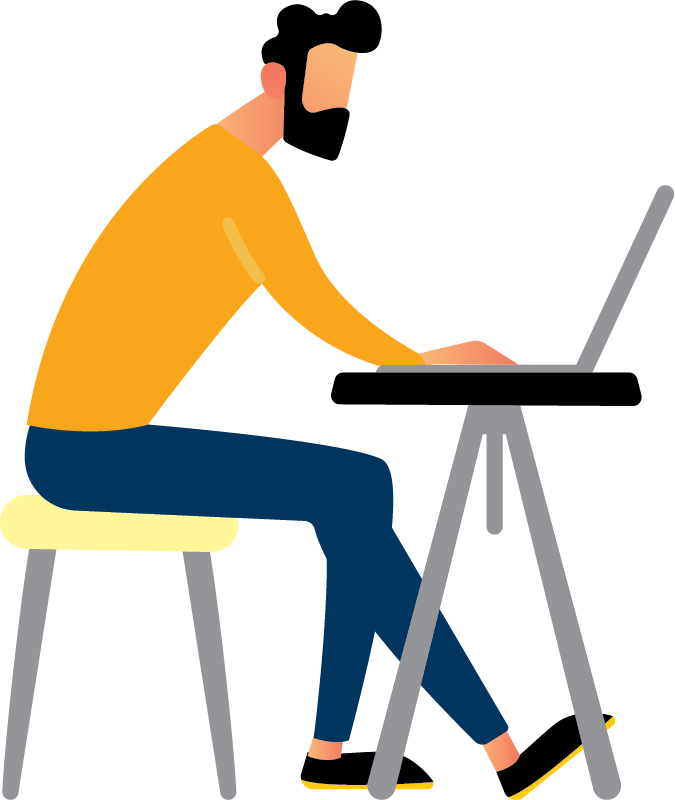 Image is decorative and depicts a man using his laptop at a desk