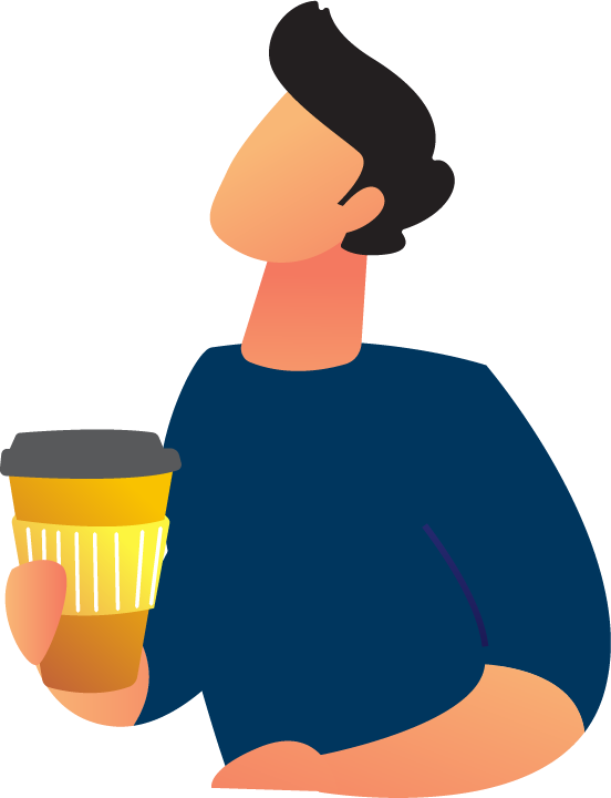 Image is decorative and depicts a man with a coffee