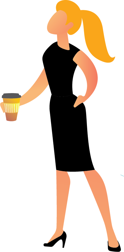 Image is decorative and depicts a woman holding a coffee