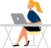 Image is decorative and depicts a woman sitting at a desk using her laptop